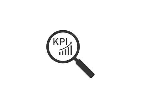 Vector illustration. Flat design. Analysis loupe kpi icon