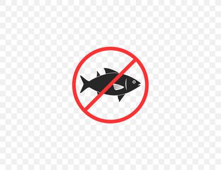 Vector illustration. Flat design. Ban, no fishing prohibited icon