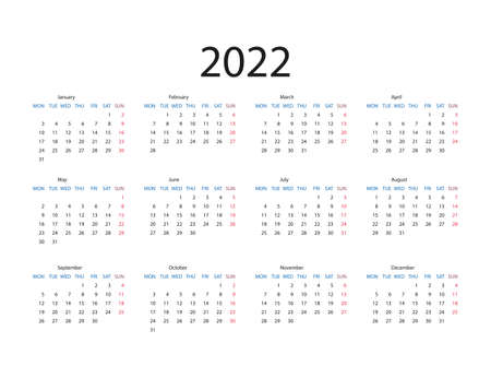 Vector illustration. 2022 year calendar flat