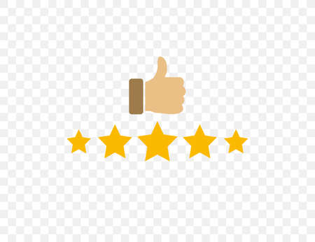 Vector illustration. flat design. Thumbs up, rating stars icon
