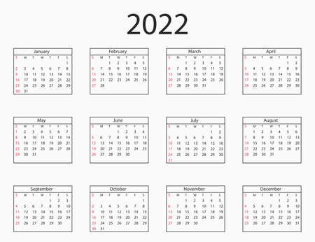 Vector illustration. 2022 year, calendar sunday start Иллюстрация