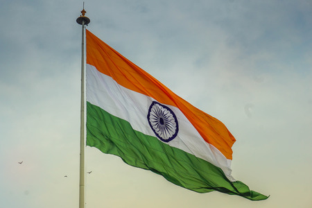 Indian flag waving in the wind 스톡 콘텐츠