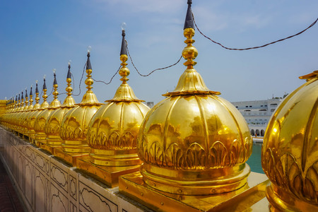 Golden domes at the Golden Temple in Amritsar, India