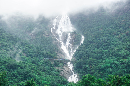Dudhsagar huge waterfall and the railway bridge passing through it