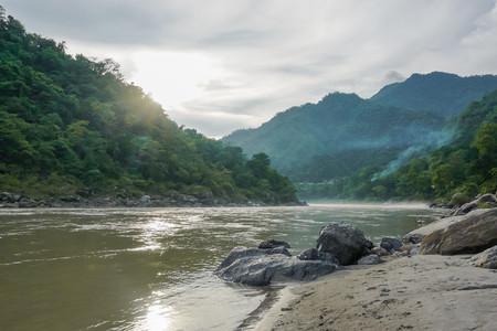 Beautiful sacred river Ganges in Rishikesh, India