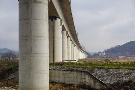 Bridge for high speed train in South Korea Imagens