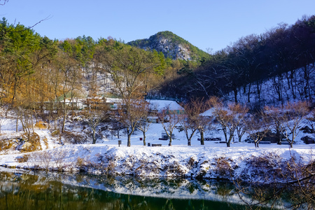 Winter in South Korea and the mountain lake