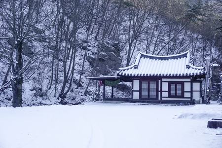 Traditional South Korean house in the mountains in winter
