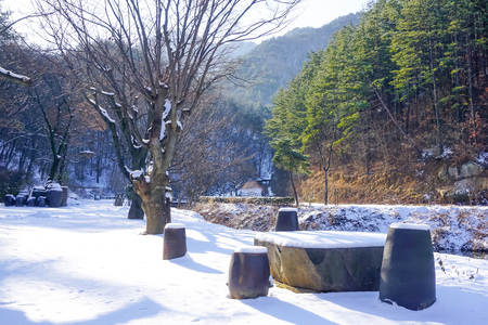 Winter in the village of South Korea