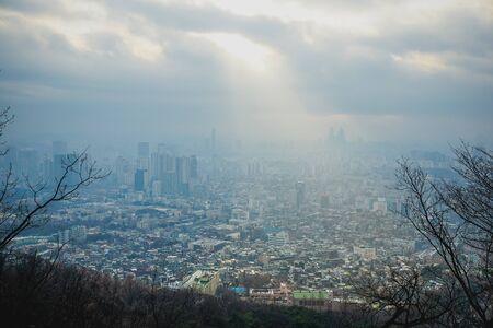 Seoul sunset view in winter season. South korea