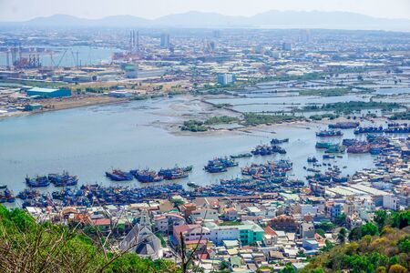 Panorama of the port of Vung Tau in Vietnam Stock Photo