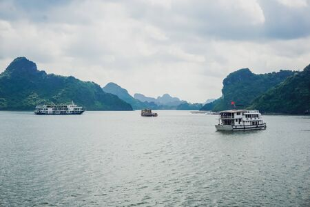 Mountains in the water at Ha Long Bay, Vietnam