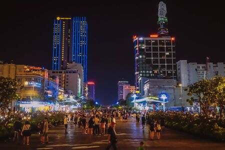 Ho Chi Minh City, Vietnam - February 23, 2018: Night city streets and nightlife in the center of Ho Chi Minh City