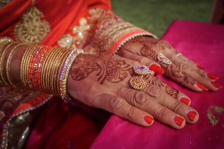 Indian womans hand painted mehendi