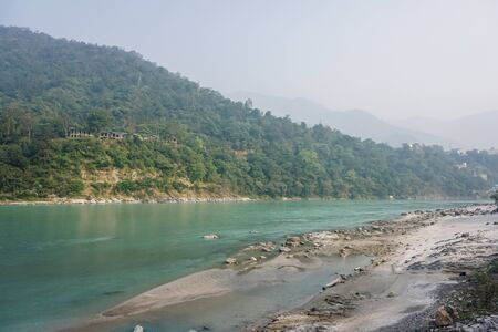 Beautiful turquoise Ganges River in Rishikesh, India