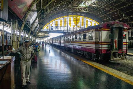 Bangkok, Thailand - December 19, 2018: Inside the main railway station in Bangkok