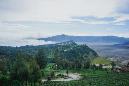 Beautiful landscape near the territory of the Bromo Volcano Natural Park in Indonesia