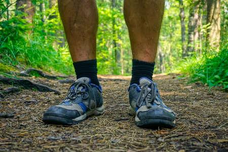 Traveler's feet on the trail