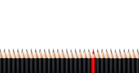 dissent: Red pencil standing out from the same row crowd black bold pencils on white background, with space for text. Leadership, unique, independence, initiative, strategy, dissent, think different, business success concept.