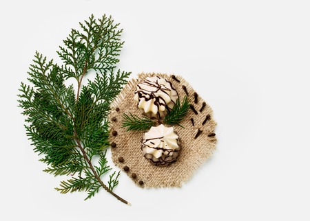 Christmas tree branch, cake, New Year decoration isolated on white. Creative concept, space for text, logo. flat lay.