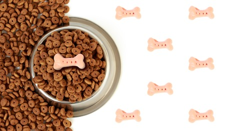 Dog bowl with pet feed on the half white background pink bones and scattered dry food Stock Photo