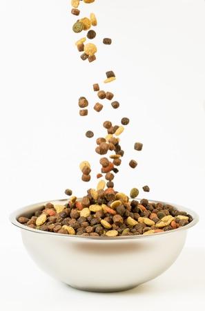 Voedsel voor huisdieren valt in de kom om te eten. Stockfoto