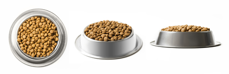 Set of three dishes dry pet food in a metal bowl isolated on white background. Top, half and front view Stok Fotoğraf