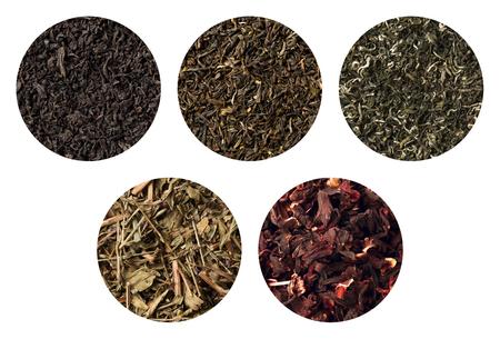 angustifolium: Set of five different tea textures. darjeeling, black , sally, green carcade Stock Photo
