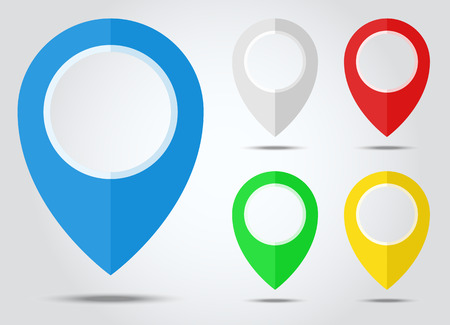 Set of Map markers, map pins, pointer elements. 5 colors, orange, blue, green, red white Location address destination geo location themes