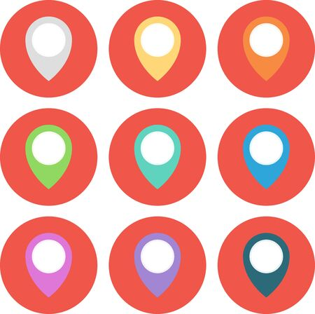 Set of 9 geo Colored Map Pin circled. Vector Illustration