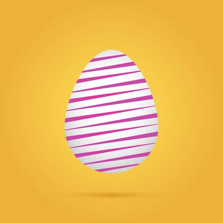 Linear colored easter egg on yellow background. Vector illustration Stock Photo