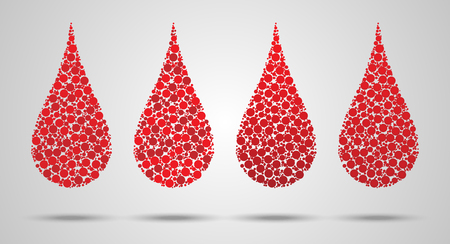 Set of blood Drops made of circles. Hemophilia day concept. Vector illustration EPS 10