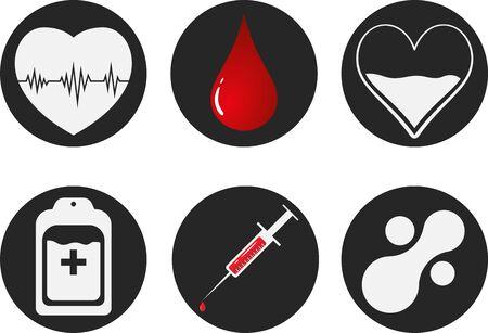 Blood Donation Icon Set. Heart, blood, drop, counter, syringe and mataball molecule. Vector illustration EPS 10 Illustration