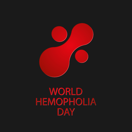 World hemophilia day. Abstract icon of blood substance on dark background. Vector illustration EPS 10