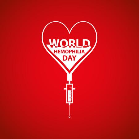 hemophilia: World hemophilia day concept. Heart makes drop counter transfusion. Vector illustration EPS 10