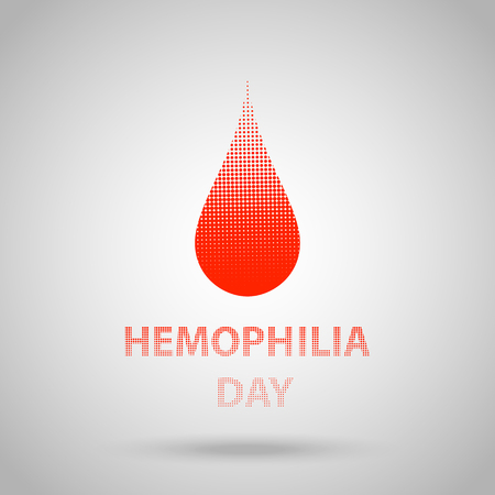 World hemophilia day, red halftone dotted blood drop. Vector illustration EPS 10