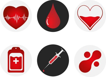 Blood Donation Icon Set. Heart, blood, drop, counter, syringe and mataball molecule. Vector illustration EPS 10
