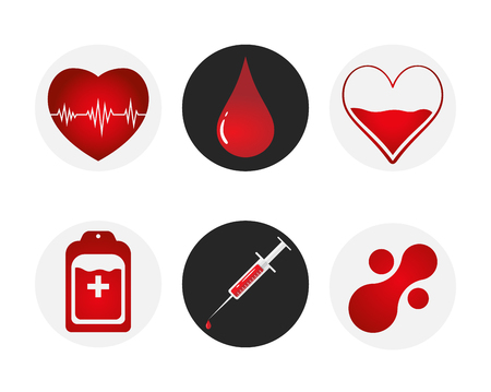 Blood donation icon set. Heart, blood, drop, counter, syringe and mataball molecule.