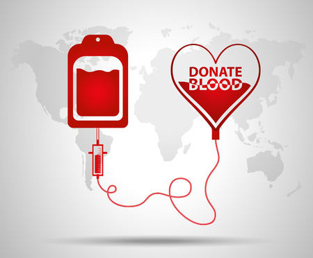 Blood bag and heart. Blood donation day concept. Human donates blood. Illustration
