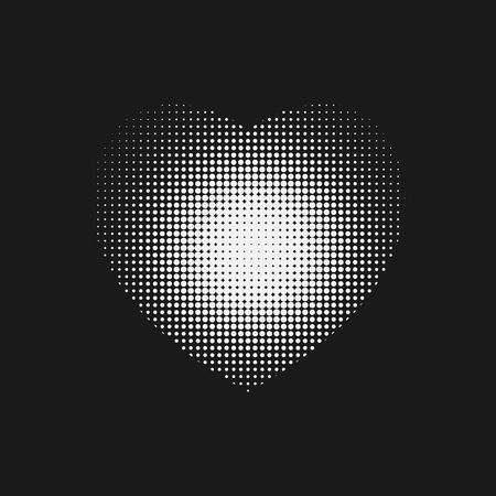 hemophilia: Dotted white Heart sign with halftone on on black backround.. Illustration