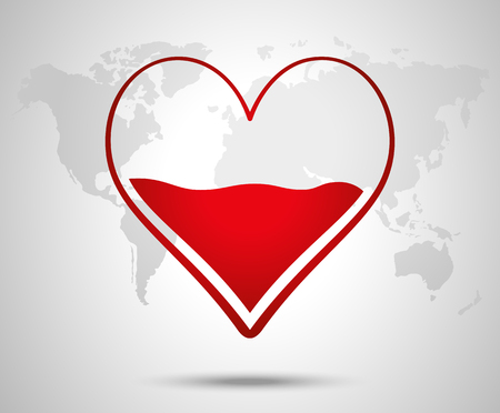 Heart Half Of Blood Vector Icon Medicine Symbol Valentines
