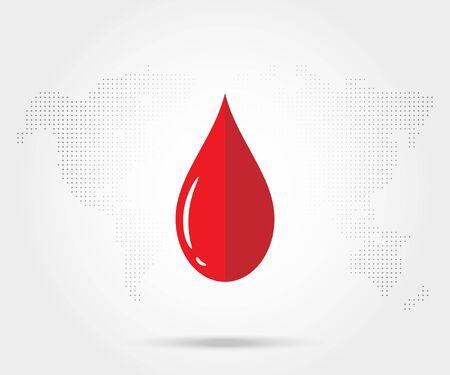 hemophilia: Red Blood donation drop isolated on white. Vector illustration EPS 10 Illustration