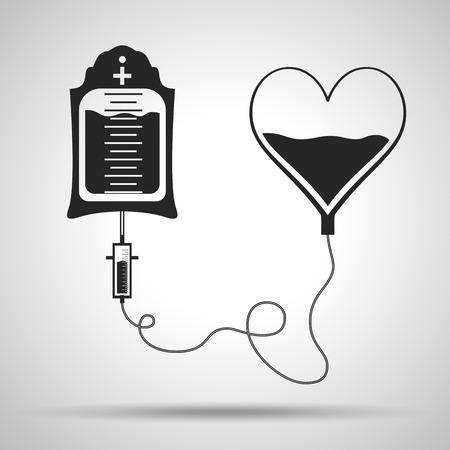 blood bag and heart. Blood donation day concept. Human donates blood. Vector illustration in flat style Illustration