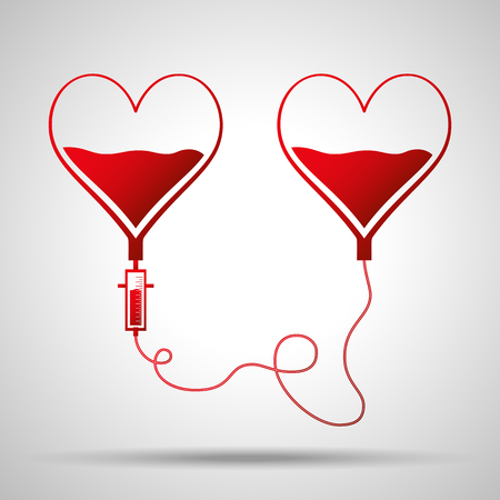Two bags in shape of hearts. Blood donation day concept. Human donates blood. Vector illustration in flat style.