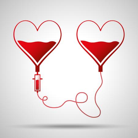 Deux sacs en forme de coeurs. Concept de la journée du don de sang. L'homme donne du sang. Illustration vectorielle dans un style plat