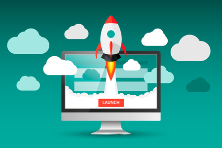 Launching app project on desktop computer concept. Rocket fly out of monitor. Start up, business idea isolated on white. Vector Illustration EPS 10