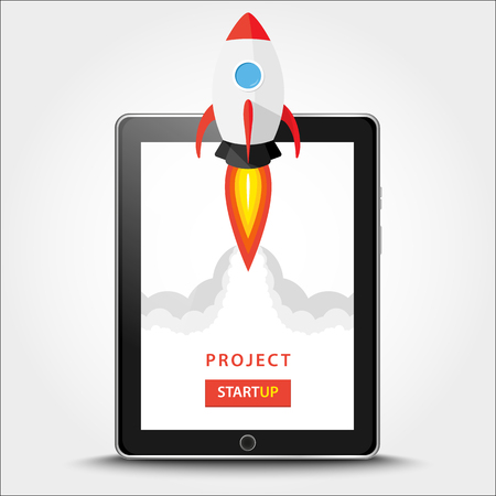 Launching app project on tablet pc desktop concept. Rocket fly out of monitor. Start up, business idea isolated on white. Vector Illustration EPS 10 Illustration