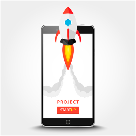 Launching app project on smart phone desktop concept. Rocket fly out of monitor. Start up, business idea isolated on white. Vector Illustration EPS 10