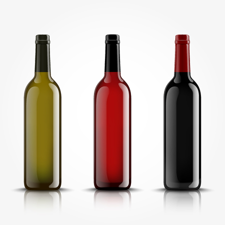 Vector, wine bottles, made in a realistic style. on a white background. Green, Red and black mock up. Illusztráció