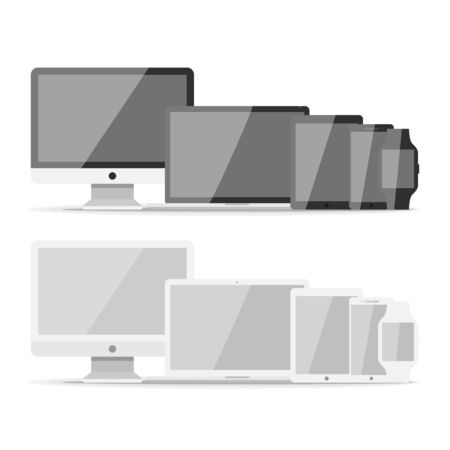 Device mockup template. Set of computer monitor, computer, laptop, phone, tablet isolated on green background. Flat vector illustration